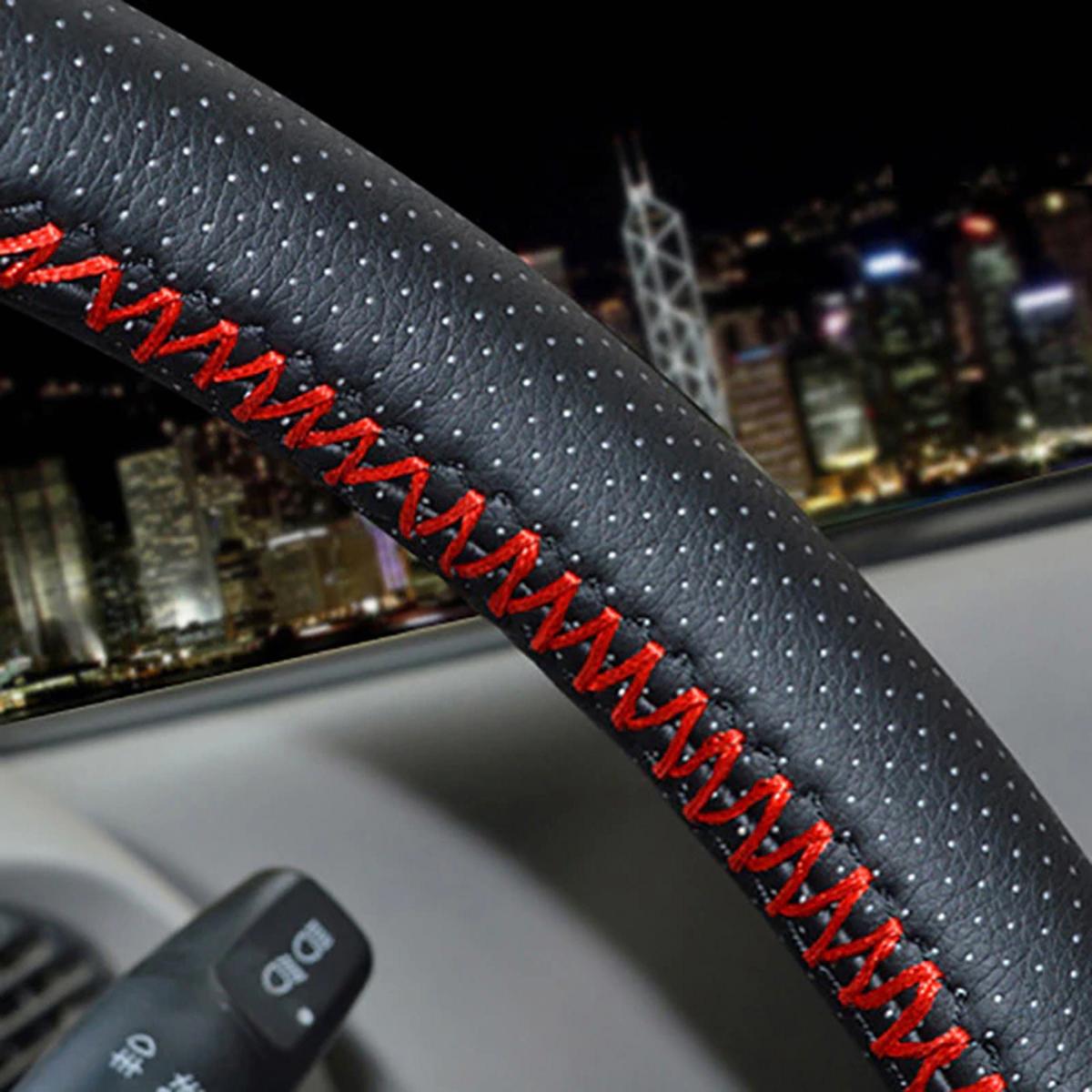 Оплетка руля d-50см МАЗ КАМАЗ(искуст.кожа) красные нитки