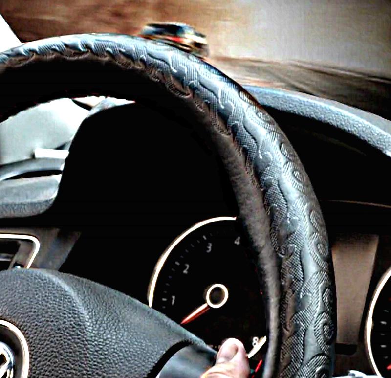 Оплетка руля d-50см КАМАЗ МАЗ(натуральная кожа) черные нитки